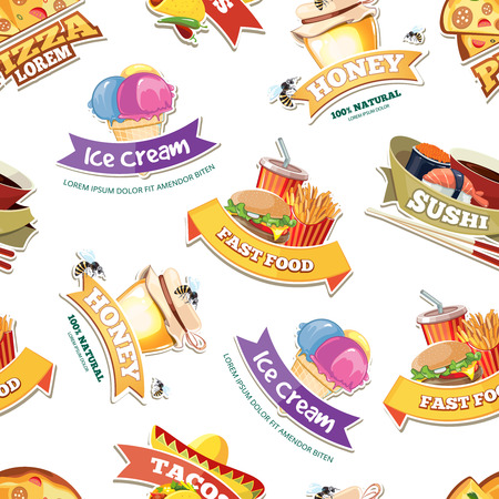 kobe: vector seamless pattern with emblems of food illustrations. European, Mexican, Itallian, japan food, ice cream and honey.