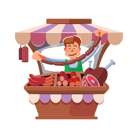 shop keeper: Vector illustration in flat style of farmer selling fresh meat in local market. illustration isolated on white background. Illustration