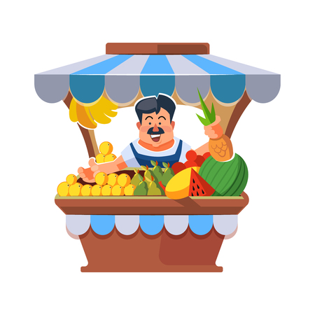 sunblind: Vector illustration in flat style of farmer selling vegetables in local market. illustration isolated on white background.