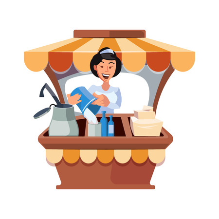sunblind: Vector illustration in flat style of farmer selling milk products in local market. illustration isolated on white background.