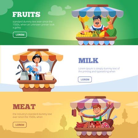 Vector illustration in flat style of farmers selling milk products, fresh meat and fruits in local market. Three illustrations for web banners with place for your text. 向量圖像