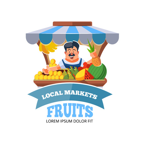 store keeper: Vector illustration in flat style of farmer selling vegetables in local market. illustration isolated on white background.