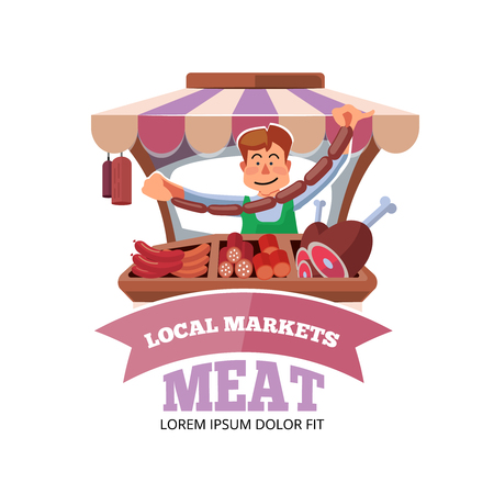 sunblind: Vector illustration in flat style of farmer selling fresh meat in local market. illustration isolated on white background. Illustration