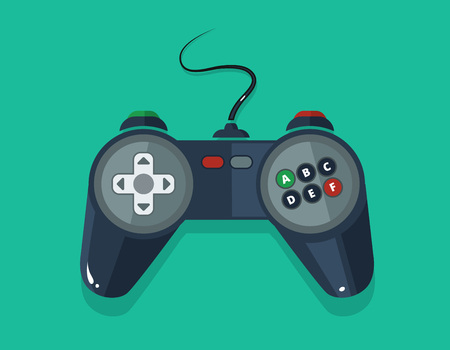 move controller: vector picture of gamepad in flat style isolate on dark background