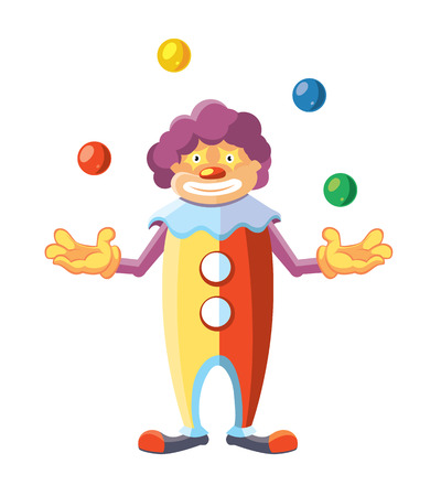 clown shoes: Vector cartoon illustration of cute clown juggler isolate on white background.