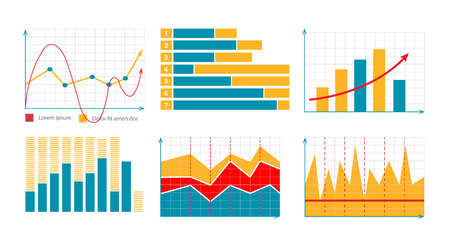 financial assets: vector illustration of Business graphics and charts set. Analysis and management of financial assets. infographics elements. Pictures for light theme Illustration