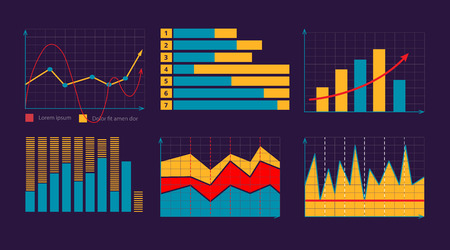 financial assets: vector illustration of Business graphics and charts set. Analysis and management of financial assets. infographics elements. Pictures for dark theme