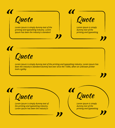 vector set of Quote blank template for business card, paper sheet, information, text. Print design.