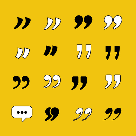 Quotes Template collection for citations. Vector set in modern flat style isolate on yellow background.