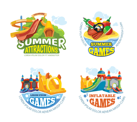 Vector illustration of color emblems with toys for summer games on playground. Aquapark Advertise labels with place for your text. Pictures isolate on white background