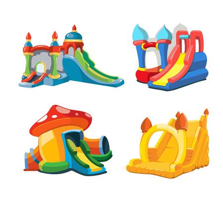 brincolin: grande ilustración vectorial conjunto de castillos hinchables y colinas niños en patio. Fotos aislar sobre fondo blanco Vectores