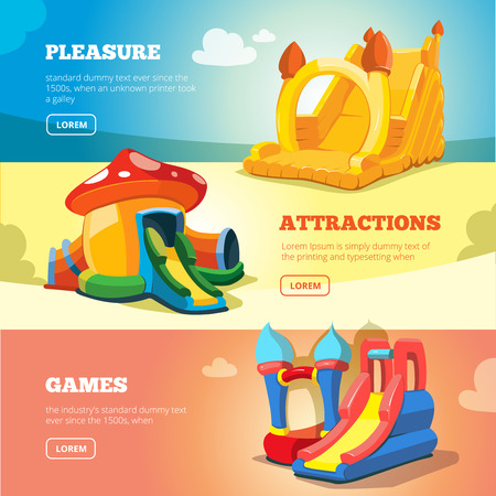 brincolin: Vector Set of web banners with picture of inflatable castles and children hills on playground.