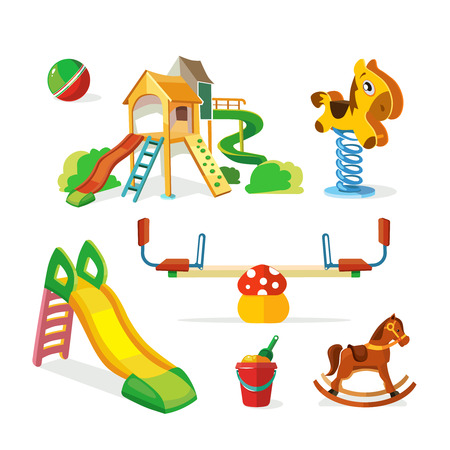 parenting: vector icon set of children playground. Illustrations in flat style isolate on white background.Childhood parenting collection. Illustration
