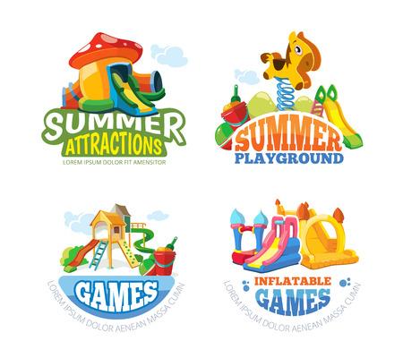 brincolin: Ilustración del vector de los emblemas de color con los juguetes para los juegos de verano en patio inflable. Publicidad etiquetas con lugar para el texto. Fotos aislar sobre fondo blanco Vectores