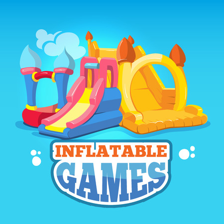 brincolin: big Vector illustration set of inflatable castles and children hills on playground. Pictures isolate on blue background Vectores