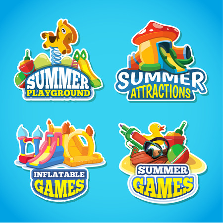 Vector illustration of color emblems with toys for summer games on inflatable playground. Advertise labels with place for your text. Pictures isolate on blue background 向量圖像