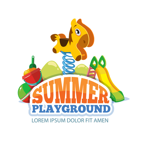 cartoon wood bucket: Vector illustration of toys, little pony on a spring and children hills on playground. Pictures isolate on white background