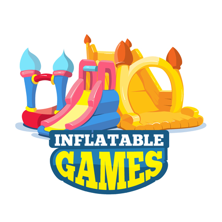 big Vector illustration set of inflatable castles and children hills on playground. Pictures isolate on white background