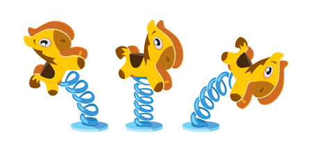 litle: vector animation frames of rocking litle horse on white background Illustration