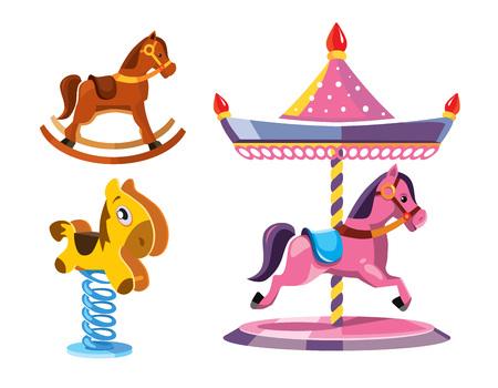 litle: vector illustration set of diferent rocking litle horses isolate on white background.