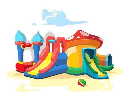 brincolin: Ilustración del vector de castillos hinchables y colinas niños en patio. Imagen del paisaje aislado sobre fondo blanco