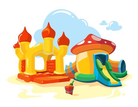 brincolin: Ilustración vectorial de dos castillos inflables para niños y colinas en patio. Fotos aislar sobre fondo blanco