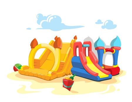 brincolin: Ilustración del vector de castillos hinchables y colinas niños en patio. Vectores