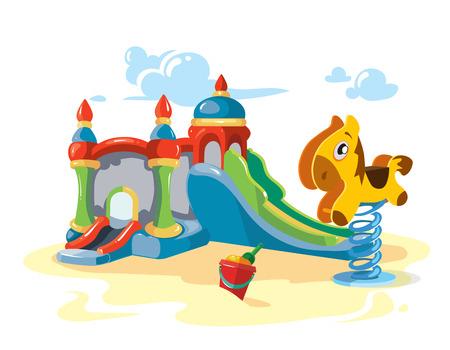 Ilustración del vector de colinas niños inflables y caballo de oscilación litle en el patio. Imagen aislado en el fondo blanco Foto de archivo - 59632389