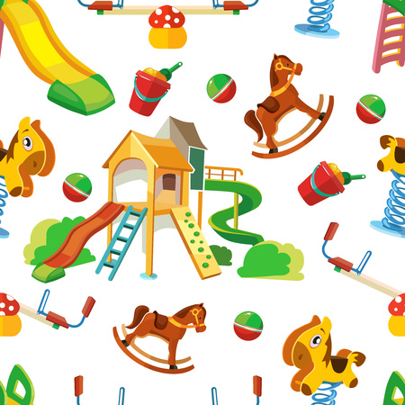 cartoon wood bucket: vector seamless pattern of children playground. Background Illustration in flat style.Childhood parenting collection. Picture isolate on white background