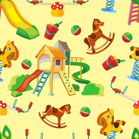 parenting: vector seamless pattern of children playground. Background Illustration in flat style.Childhood parenting collection. Illustration