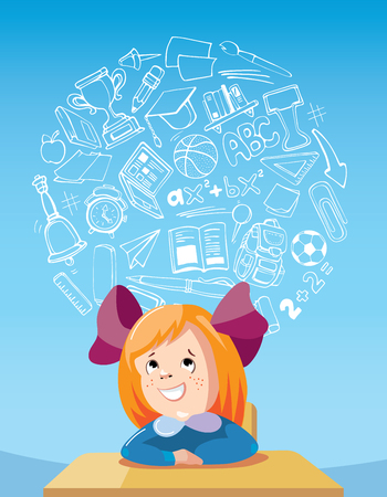 dreaming girl: vector concept illustration of Dreaming school girl at the desk Illustration
