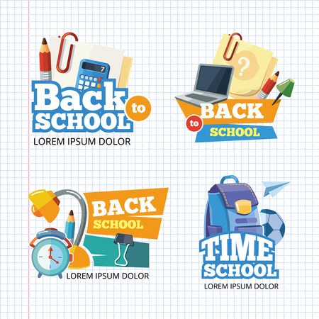 with sets of elements: Design template with vector school emblem sets. Elements for logo design with place for your text