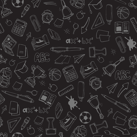 handdrawn: Back to School. vector seamless pattern with school elements isolate on dark background. Linear stile