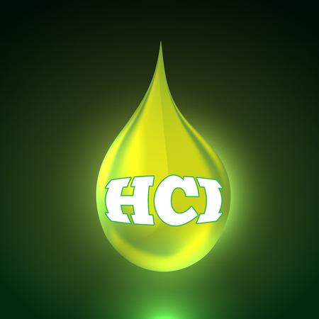 kwaśne deszcze: Vector illustration of acid background with big realistic drop. Bright green liquid Ilustracja