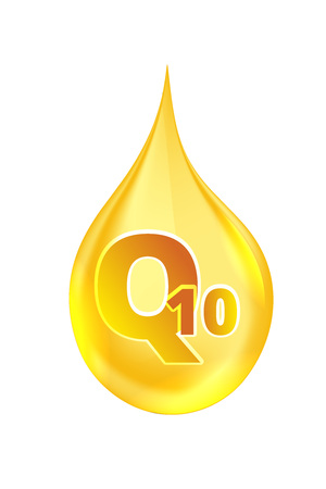 vitamine: Coenzyme Q10. vector illustration of realistic drop oil icon isolated on white background. Illustration