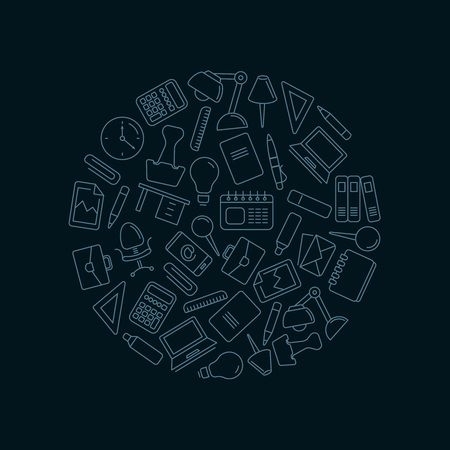 book case: vector icons set with stationery elements in circle shape form. Illustrtations in linear stile isolate on dark background
