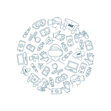 Vector pictures in circle shape of virtual reality accessories. 360 degree view. Elements isolate on white background Illustration