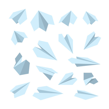 handmade paper: vector icon set of Origami plane collection. Handmade paper plane isolate on white background Illustration