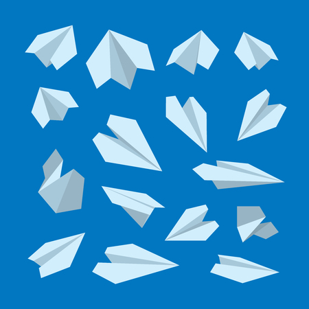 vector icon set of Origami plane collection. Handmade paper plane isolate on dark background 向量圖像