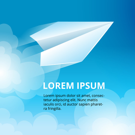 handmade paper: vector illustration of Origami plane in the sky. Handmade paper plane isolate on abstract background