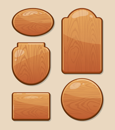 diferent: vector Set of wooden boards with diferent shapes. Empty badges and stickers for your personal design projects. Labels with place for your text Illustration