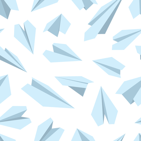 handmade paper: vector seamless pattern with Origami plane collection. Handmade paper plane isolate on white background