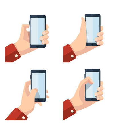 vector pictures set of hands with smartphone. Pictures with place for your personal design on the screen. Isolate on white background