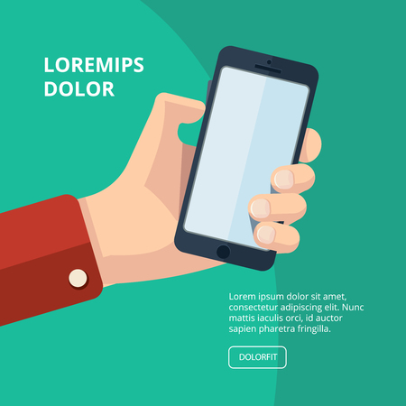 loudness: vector illustration of hand with smartphone. finger on buttons which increase loudness. Picture with place for your personal design on the screen. Isolate on dark background.