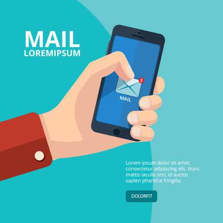 palmtop: vector illustration of hand with smartphone. finger on the mail icon. Picture with place for your personal design. Isolate on dark background.