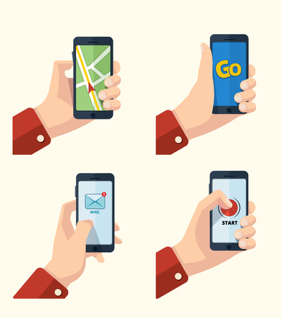 modern palmtop: vector pictures set of hands with smartphone. Pictures with place for your personal design. Navigation map on the screen. Mail icon. Game background. Isolate on light background