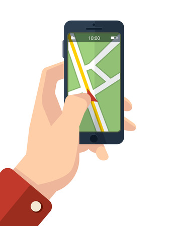palmtop: vector picture of hand with smartphone. finger on the screen with Navigation map. Isolate on white background.