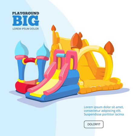 place for children: Vector illustration of inflatable castles and children hills on playground. Pictures for your personal design project with place for your text
