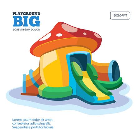 brincolin: Ilustración del vector de castillos hinchables y colinas niños en patio. Imagen de diseño de la cubierta aislante sobre fondo claro. Vectores