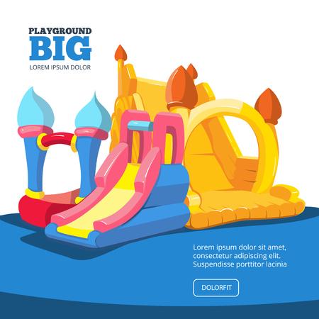 brincolin: Ilustración del vector de castillos hinchables y colinas niños en patio. Cuadros para su proyecto de diseño personal con el lugar para su texto. Aislar sobre fondo claro